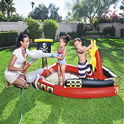 MGX-LD Round Inflatable Pools for Kids 3 Years/Inflatable Family Paddling Pool- Can Spray Water Children Pool Rafts Inflatable Ride-Ons Water Toy,190x140x96cm