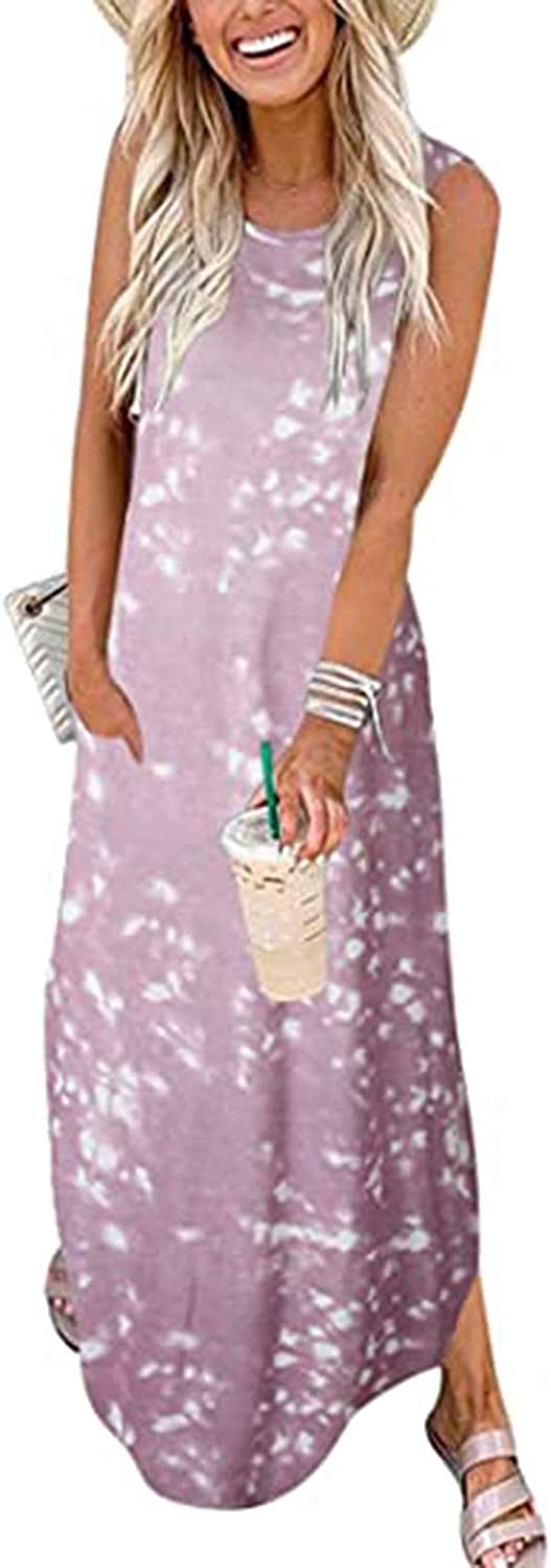 Dresses for Women Casual,Maxi Dresses Tie Dye Beach Cover Up Sleeveless Split Long Loose Dress with Pockets