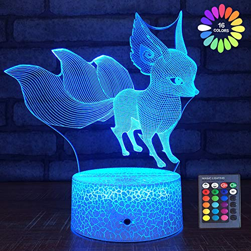 Kids Night Lights Fox Gift Toy 16 Colors with Remote Bedside Lamp 1 2 3 4 5 6 7 8 Year Old Boy or Girl Gifts on Birthday or Holiday