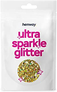Sponsored Ad - Hemway Gold Holographic Mix Glitter Chunky Multi Purpose Dust Powder Arts & Crafts Wine Glass Decoration We...