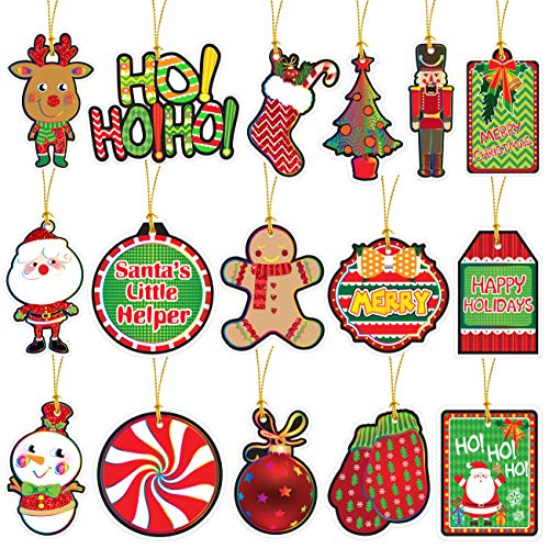 96 Christmas Gift Tags Glitter With Ribbon Tie Strings Attached 16 Designs Personalized Merry Christmas Holiday Gift Bags Wrapping Presents & Packages