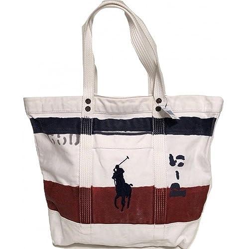 Polo Ralph Lauren Cotton Canvas Big Pony Zip Tote Bag (One Size 2749b03c36fc9