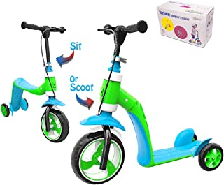 Verkstar Kick Scooter for Kids Toddlers Girls Boys, 2 in 1 Kids Scooter with Handbrake, Adjustable Handle, Extra-Wide Deck, The Latest Outdoor Toys for Kids Activities (Blue & Green)