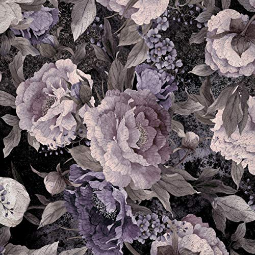 Forwall Fototapete Vlies Tapete Wanddeko Blumen Grau - Vintage Blumenmuster 3D Effekt Moderne Wanddekoration 13546VEXXL 312cm x 219cm Schlafzimmer Wohnzimmer