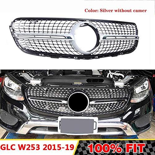 HYNB Diamond grill grill in AMG-stijl Geschikt voor Mercedes Benz GLC klasse W253 X253 GLC43 GLC200 GLC250 GLC300 GLC450 2015-2019, Zilver zonder camera