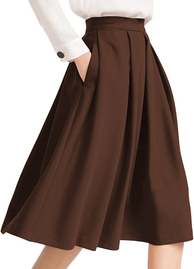 1940s Style Skirts- Vintage High Waisted Skirts Yige Womens High Waist Flared Skirt Pleated Midi Skirt with Pocket  AT vintagedancer.com