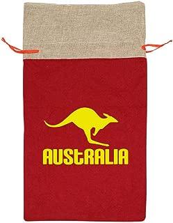 Tnfoig Linen Bags Australia Kangaroo Printed Santa Present Sack Drawstring Bag for Xmas Party