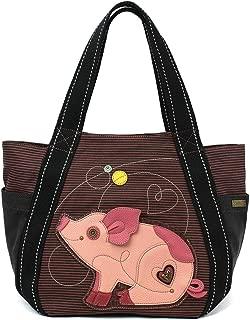 Chala Carryall Zip Tote, Canvas Handbag, Top Zipper, Animal Prints - Pig - Pink Stripe