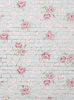 Leowefowa 3X5FT Floral Backdrops Shabby Chic Flowers on White Brick Wall Backdrops for Photography Interior Tv Wall Decoration Wallpaper Girls Happy Mother's Day Photo Background Studio Props