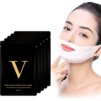 Double Chin Reducer V Line Mask, Pain-Free Face Slimmer Mask, V Line Lifting Chin Mask face slimming mask V Up Contour Tightening Firming Moisturizing Chin Neck V Shaped Slimming Face Mask 5 Pcs