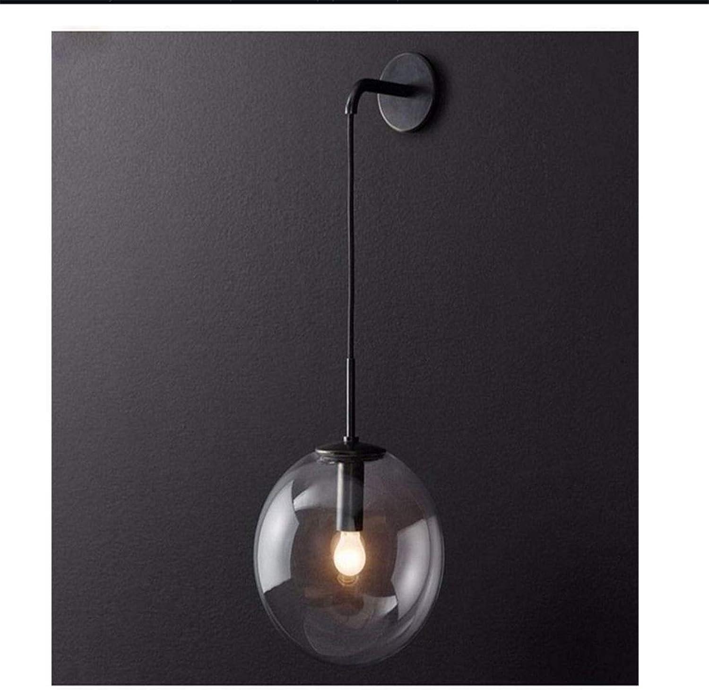 Retro Modern Design Nordic Led Wandleuchte Glaskugel Badezimmerspiegel Neben Amerikanischen Retro Wandleuchte Wandleuchte Wandlamp Aplique Murale 15 Cm, Schwarz [Energieklasse A +++]