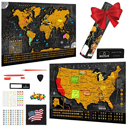 Scratch Off World Map Poster - 17x24 Inches - Bonus United States Map with Detailed Outlined States, Flags, Capitals, Populations, Landmarks, Time Zones - Full Accessories Set & Name-tag Gift Box