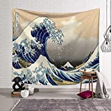 KHKJ Ukiyoe Ocean Wave Wal Wandteppich Kopfteil Wandkunst Tagesdecke Wohnheim Wandteppich für Wohnzimmer Schlafzimmer Wohnkultur A11 150x130cm130