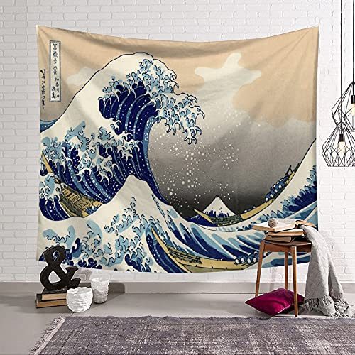 KHKJ Tapiz de Ballena con Olas oceánicas de Ukiyoe, cabecero de Pared, Colcha de Arte, Tapiz de Dormitorio para Sala de Estar, Dormitorio, decoración del hogar A11, 200x150cm