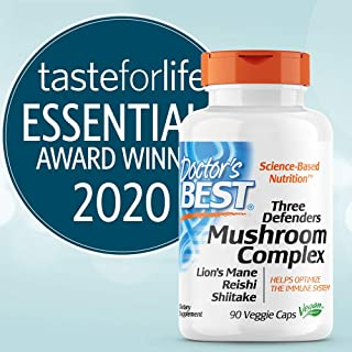 Doctor's Best Three Defenders Mushroom Complex, Contains Reishi, Lion's Mane & Shiitake, Supports Immunity, Cognition, Ove...