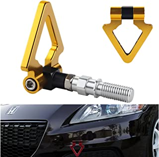 DEWHEL JDM Racing Aluminum Triangle Tow Hooks Eyes Front Rear Japanese Car Auto Trailer Gold for 09-13 Honda Fit