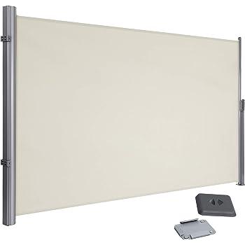 SONGMICS 180 x 350 cm (H x L), Seitenmarkise für Balkon und Terrasse, Sichtschutz, Sonnenschutz, Seitenrollo, Beige GSA185E