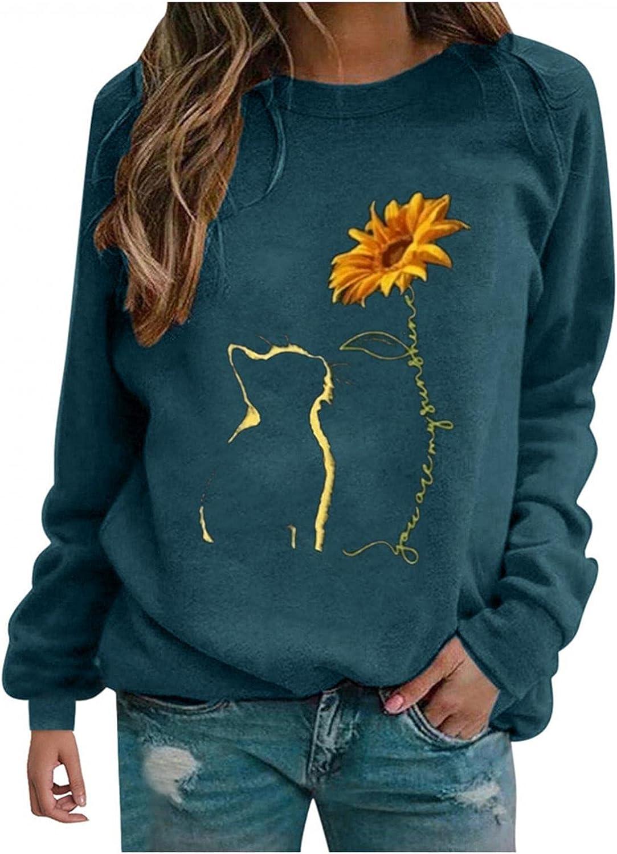 FABIURT Women's Long Sleeve Loose Casual Fall Pullover Vintage Graphic Crewneck Sweatshirt Tunic Tops Tee Shirts