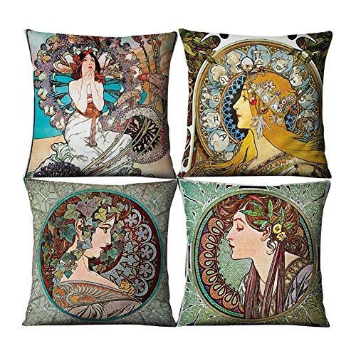 `Star Empty Funda de Almohada para sofá, Throw 4pcs Cubiertas Decorativas del Amortiguador Verde Almohadas Caja Set Decoración Hogar de la Historieta Funda de Almohada Lumbar