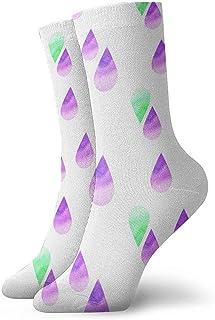 Kevin-Shop, Calcetines Tobilleros con Gotas de Agua púrpuras y Verdes Calcetines Casuales y acogedores para Hombres, Mujeres, niños