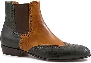 Leonardo Shoes Stivaletti Brogues Donna Artigianali in Pelle Verde/Cuoio - Codice Modello: Pina 044 Verde/Cuoio
