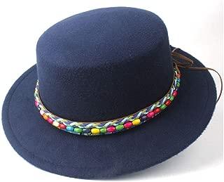 RongAi Chen Men Women Flat Top Fedora Hat Winter Wool Trilby Jazz Hat Bowler Hat Church Hat Size 56-58CM