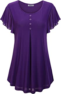 MOQIVGI Womens V Neck Short Sleeve Ruffle Front Chiffon Blouse Tops