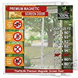 TheFitLife Magnetic Screen Door - Heavy Duty Mesh Curtain with Full Frame Hook and Loop Powerful Magnets That Snap Shut Automatically (38''x97'' - Fits Doors up to 36''x96'', White)