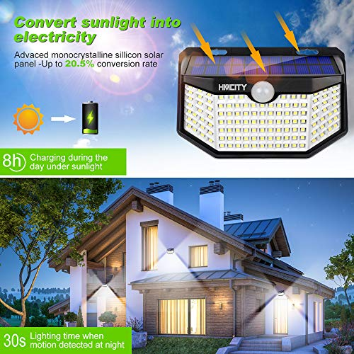 Solar Lights Outdoor 120 LED with Lights Reflector and 3 Lighting Modes,Solar Motion Sensor Security Lights, IP65 Waterproof Solar Powered Wall Lights for Garden Patio Yard Deck Pendant Lights(4-Pack)