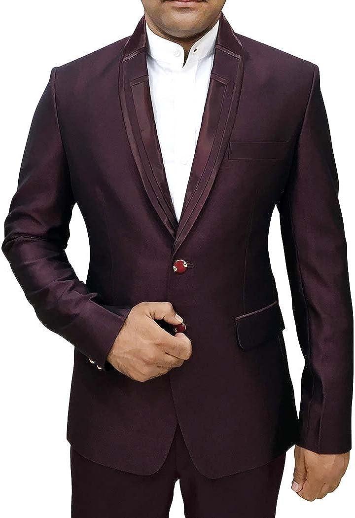 INMONARCH Mens Wine Polyester 3 Pc Tuxedo Suit Designer Lapel TX1060