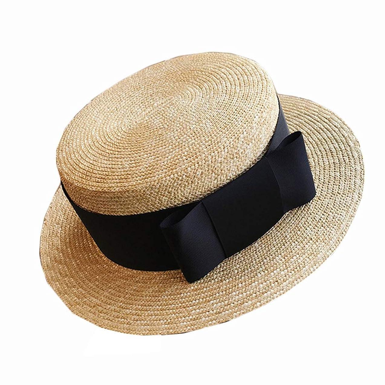 着飾る世論調査バット日よけ小麦わらわらワイドベルト弓女日よけ浜辺日除け調節可能なUV春夏日よけ帽子 (Color : WHITE, Size : HEAD 54)