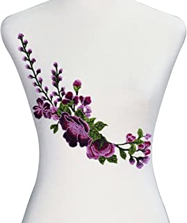 1piece Embroidery Flower Applique Cord Trim for Dress Decorative Craft Fabric Patches DIY Sewing Accessories T2617 (purple)