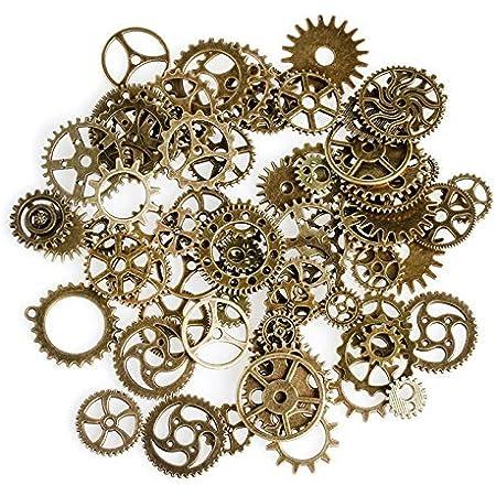 Naisicantar Lot de 50 pièces pour arts créatifs modèle mécanique vintage en alliage rouages montres roues dentées de couleurs assorties (bronze)