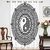 Ying Yang Rideaux occultants pour porte de patio Motif Mandala avec panneau Yin Yang Motif cachemire Karma Cosmos Panneau en verre coulissant 132 x 160 cm