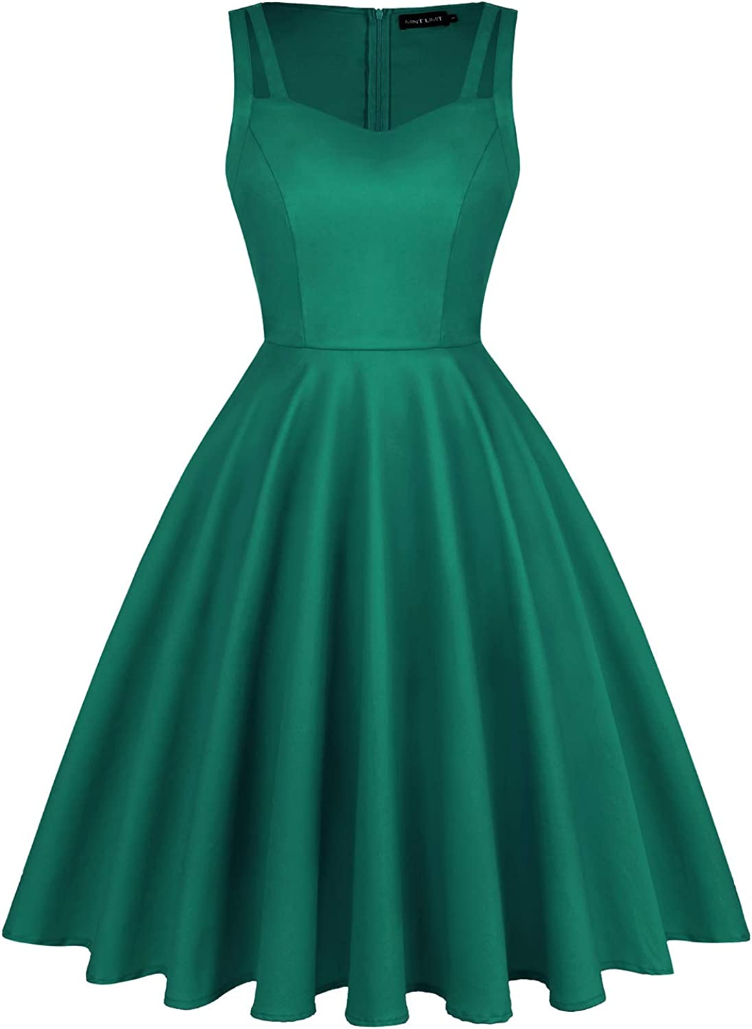 MINTLIMIT Women's 1950s Vintage Sweetheart Double Strap Retro Rockabilly Cocktail Party Swing Dress with Pockets
