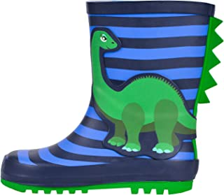 WDSAFSLO Kids Rain Boots, Rubber Waterproof Rain Boots for Toddler Kids Boys Girls in Fun Patterns