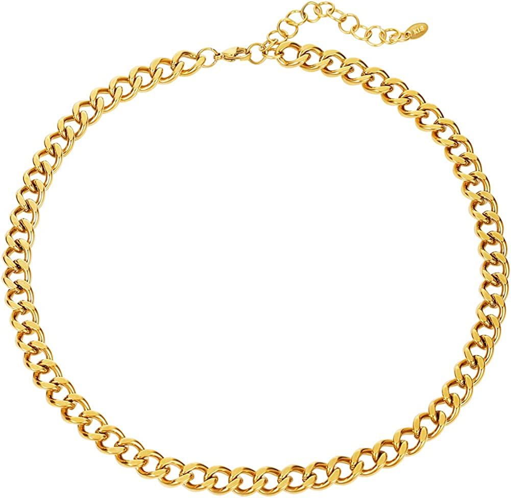 Chunky Cuban Chain Choker Necklace for Women, 9mm Thick Wide Chain Collar Necklace Link Chain Choker Necklaces for Men Girls