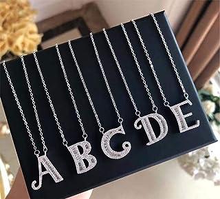 WJJ Collar con el Nombre de la Letra / 26 Colgante del Alfabeto inglés/Accesorios de Cadena de clavícula Corta/para Damas Fiesta de graduación joyería Regalo de cumpleaños Collar de Plata