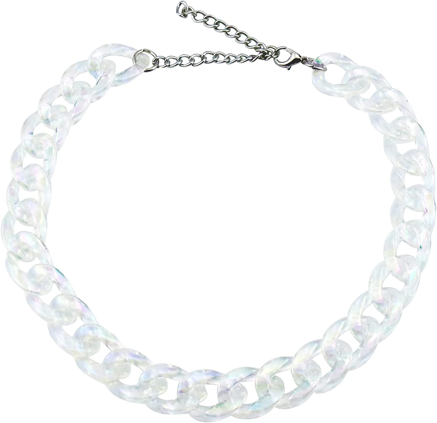 Riuziyi Punk Acrylic Cuban Link Chain Transparent AB Color Plastic Resin Choker Necklace Chunky Hip Hop Statement Neck Collar Jewelry Gift for Women Teens Girls