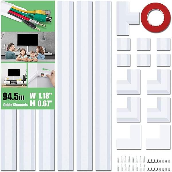 2019 升级电缆遮瑕膏 pvc线线罩 94 5in 可粉刷电线隐藏家用办公室电视电脑电线 6X L15 75in W1 18in H0 67in 白色 CC02