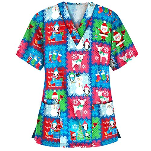 Wocachi Scrub Tops for Women, Christmas Print V-Neck Short Sleeve Black Scrubs Cute Stylish Xmas Workwear Scrub Shirts New Trend Piece Love Sunshine Dragonfly Cartoon Long Sleeve Top 2020 Fall Daily