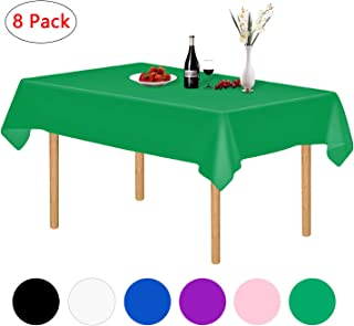 Green Plastic Tablecloth, 8 Pack Disposable Party Table Cloths Rectangle 54 x 108 Inch, Plastic Table Covers for Baby Shower, Dining Table, BBQ, Picnic, Christmas