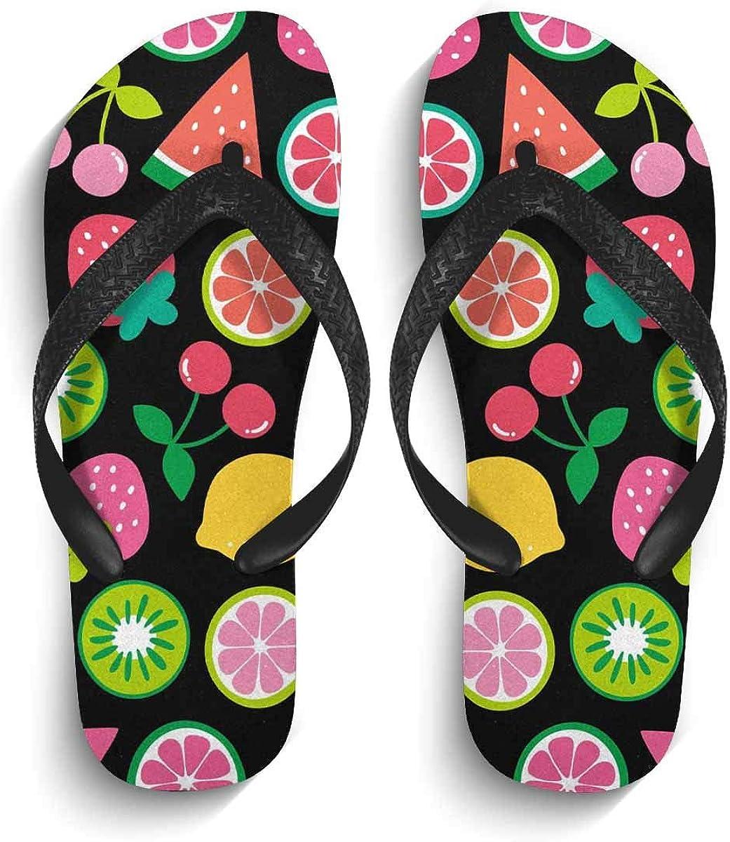 InterestPrint Non-Slip Flip Flops Black Straps Colorful Flamingo Feather Summer Beach Thong Sandal for Men