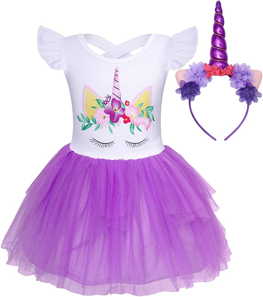 Jurebecia Girls Unicorn Costume Dress Pageant Party Wedding Dress Kids Ball Gown Halloween Tutu Dress with Headband