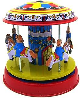 STOBOK Classic Vintage Clockwork Wind Up Rotating Merry-Go-Round Children Tin Toy Birthday Holiday Carousel Decoration
