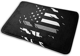 NINHOO Ripped Thin Silver Line American Flag Non Slip Doormat Entrance Mat Floor Mat for Outdoor/Office/Bathroom/Kitchen