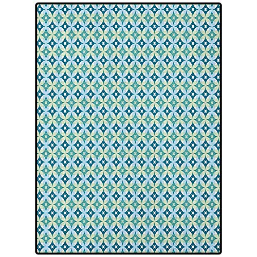 Mid Century Desk mat for Carpet Soft Area Rugs for Girls Room Vintage Diamond Pattern with Argyle Backdrop Geometrical Lattice of Circles Turquoise Teal 72' x 48'