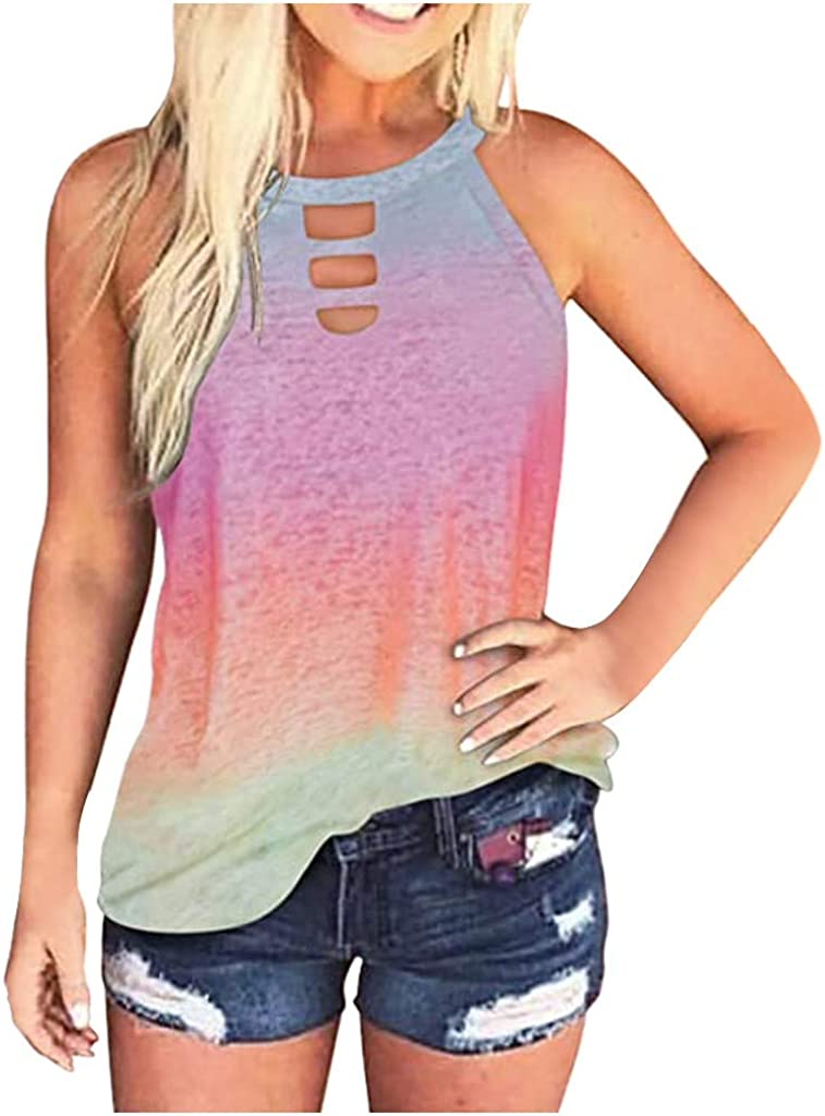Summer Tops for Women Trendy,Womens Tank Tops Sleeveless Scoop Neck Slim Fitted Summer Casual Novelty Camis Henley Tops Tee Shirts