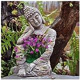 LXLTL Buddha Statue Blumentopf, Garten Magnesiumoxid-Buddha-Statue, Retro-Innenhof Im Freien Große Skulptur-Blumentopf