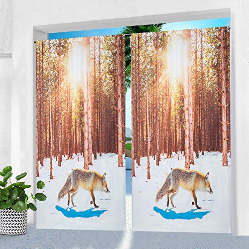 Pro Space Indoor/Outdoor Curtain for Patio - 50' x 84' Fox in The Forest Printed Waterproof Window Drape Rod Pocket Top Curtains Panel for Pergola, Porch or Balcony